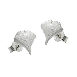 unbespielt Paar Ohrstecker Ohrringe Ohrstecker 9 mm Ginkgoblatt matt 925 Silber inklusive Schmuckbox, Silberschmuck für Damen