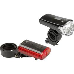 M-Wave Fahrradbeleuchtung Set ATLAS K 11 USB LED akkubetrieben Schwarz