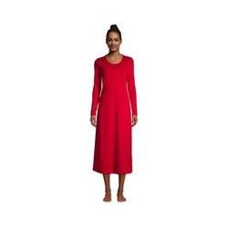 Wadenlanges Supima Langarm-Nachthemd, Damen, Größe: L Normal, Rot, Jersey, by Lands' End, Satt Rot - L - Satt Rot