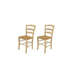 2 Esszimmerstühle aus massiver Buche mit einer Sitzfläche aus Binsengeflecht, Maße: B/H/T ca. 43/85/47 cm