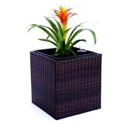 Pflanzkübel Polyrattan quadratisch 30x30x30cm Coffee braun