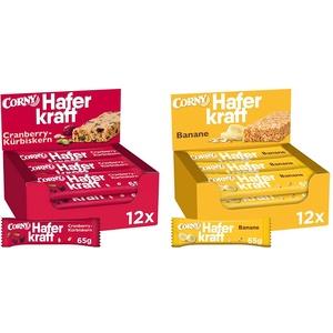 Corny Haferkraft Cranberry-Kürbiskern, 12er Pack (12 x 65 g) & Haferkraft Banane, Haferriegel, 12er Pack (12 x 65g Riegel)