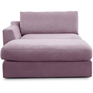 """CAVADORE Sofa-Modul """"Fiona"""" Longchair mit Armteil links / XXL-Recamiere passend zur Couchgarnitur Fiona / 139 x 90 x 199 / Webstoff flieder-lila"""