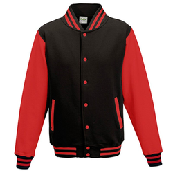 Kids` Varsity Jacket | Just Hoods Jet Black/Fire Red 7/8 (M)