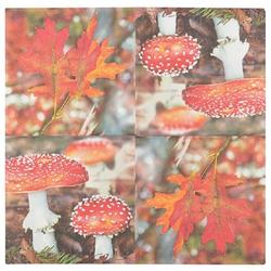 Linoows Papierserviette 20 Servietten Herbstzeit, Fliegenpilze und buntes, Motiv Fliegenpilze und buntes Laub