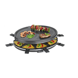 Raclette für acht Personen mit Pfännchen und Holzspachtel
