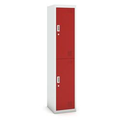 Zweitüriger schrank, 1800 x 380 x 450 mm, grau/rot