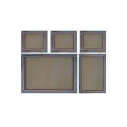 MCW Bilderrahmen Bilderrahmen Set H246, (Set), Für Quer- und Hochformat, Mit Seidenband, Mit 2 mm Glasplatte grau