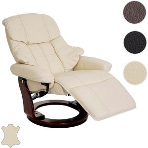 MCA Relaxsessel Calgary 2, Fernsehsessel Sessel, Echtleder 150kg belastbar ~ creme, Walnuss-Optik