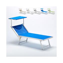 Sonnenliege Luxus Italienische Strandliege mit Dach Alu Italia | Blau