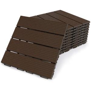 Premium Terrassenfliesen aus Kunststoff – 30 x 30cm, 8 Stück, 0,72 qm, Anti-Rutsch-Oberfläche, Klickfliesen in Holzoptik, Bodenbelag, braun, dunkel, witterungsbeständig, FORTENA