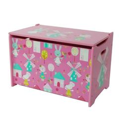 Natsen Spielzeugtruhe, Kindersitztruhe Spielzeugtruhe Aufbewahrungsbox Spielzeugkiste, Hase und Windmühle, Holz, 60 x 36 x 39 cm