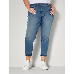 m. collection 5-Pocket-Jeans mit Dekoperlen am Saum 58