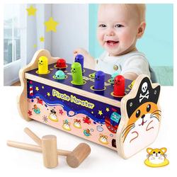 Arkmiido Lernspielzeug Holzhammer Spielzeug mit 2 Schlägeln, Pädagogisches Holzspielzeuggeschenk für Kleinkinderbabys