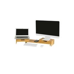 SoBuy BBF04 Monitor-Halterung, (Design Monitorerhöhung für 2 Monitore Monitorständer Bildschirmständer breitenverstellbar)