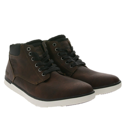 PETROLIO PETROLIO Sneaker-Boots bequeme Herren Winter-Stiefel aus Lederimitat Schnür-Boots Dunkelbraun Schnürstiefel 40