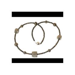 Bella Carina Perlenkette Kette mit Pyrit Perlen, Magnetverschluss 50 cm