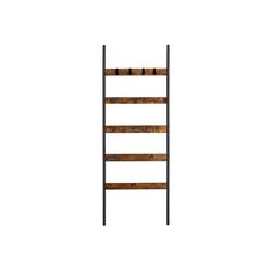VASAGLE Handtuchleiter LLS011B01, Handtuchregal Leiterregal Anlehnregal mit 5 Sprossen vintagebraun-schwarz