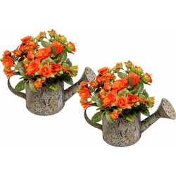 Kunstpflanze Wildrosen in Gießkanne (2er Set), I.GE.A., Höhe 19 cm orange