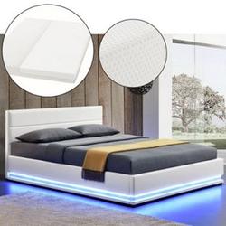ArtLife Polsterbett Toulouse 140 x 200cm mit LED, Bettkasten und Kaltschaummatratze - weiß