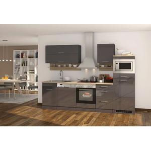 Küchenzeile mit Geschirrspüler Einbauküche mit Elektrogeräten 280 hochglanz grau