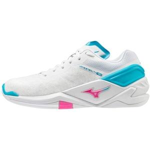 Mizuno Damen Wave Stealth Neo Handballschuh, White/PinkGlo/BlueAtoll, 42.5 EU