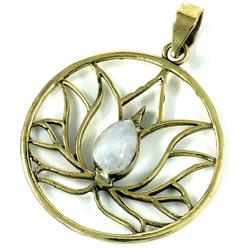 Guru-Shop Kettenanhänger Lotus Kettenanhänger aus Messing - Mondstein
