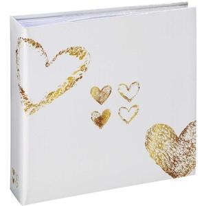 Hama Einsteckalbum Lazise (Fotoalbum mit 100 Seiten, Album zum Einstecken von 200 Fotos im Format 10x15 cm, Fotobuch mit Herz-Motiv, Hochzeitsalbum) weiß/gold