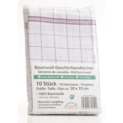 Geschirrtuch, 50 x 70 cm, Aus 100% Baumwolle, 1 Packung = 10 Stück, rot/weiß