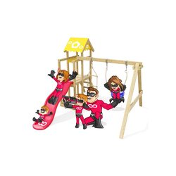 HEROOWS Klettergerüst Caring Heroows Schaukelgestell mit Kletterleiter, Sandkasten, Schaukel & Rutsche