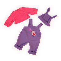 BAYER Puppenkleidung Latzhose Shirt und Mütze lila-pink,