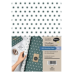 Geschenkpapier-Set Sterne (grün/weiß)