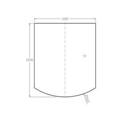 Bodenplatte aus Sicherheitsglas 6 mm - 1.200 x 1.000 mm mit Facette 18 mm für Kaminofen