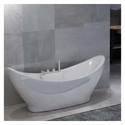 vidaXL Badewanne vidaXL Freistehende Badewanne mit Wasserhahn Weiß Acryl 183 L