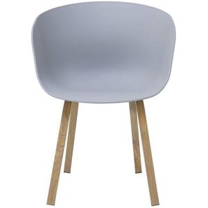 SalesFever NORDIN Esszimmerstühle 2er Set Schalenstuhl, Kunststoff, Metall, Grau, 78x55x55 cm