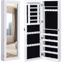 HOMCOM 2 in 1 Schmuckschrank mit Spiegel weiß, schwarz 37 x 9,5 x 112 cm (LxBxH)   Wandspiegel Spiegelschrank Schmuckkommode