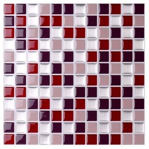 K&L Wall Art Fliesenaufkleber selbstklebende Mosaik Fliesenaufkleber Fliesen Aufkleber 3D Küche Bad (Vorteilspack, 4 Stück, Set), wasserabweisend rot