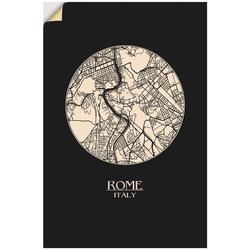 Artland Wandbild Retro Karte Rom Italien Kreis, Italien (1 Stück) 40 cm x 60 cm