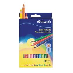 Buntstifte dick dreieckig 12 Farben sortiert