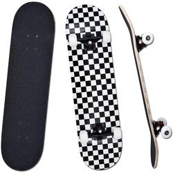 "Vaxiuja Skateboard Teen Adult Anfänger Komplettes Skateboard""79x20cm""Check Pattern 7-lagiges Maple Platform Double Kick Concave Jungen- und Mädchen-Skateboard"