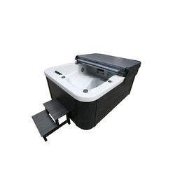 HOME DELUXE Whirlpool-Sitzbank Outdoor Whirlpool White Marble, mit Treppe und Thermoabdeckung