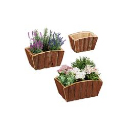 relaxdays Blumenkasten Blumenkasten Holz im 3er Set