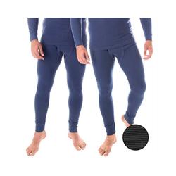 Black Snake Thermounterhose ringel (2 Stück) Herren Unterhosen mit Innenfleece 2er-Pack blau 8/XXL