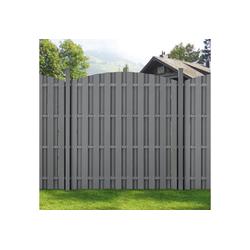 neu.holz Gartenzaun, Siero Lamellenzaun Rund WPC Sichtschutz 180x(165-180)cm Grau grau