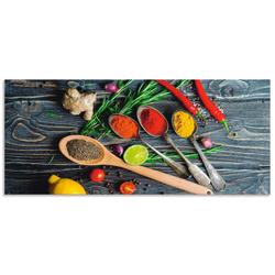 Artland Küchenrückwand Gewürze in Metalllöffeln, (1-tlg) 140 cm x 60 cm x 0,3 cm