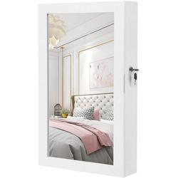 SONGMICS Schmuckschrank JBC51W Hängend Spiegelschrank, Wandspiegel, 67x37x10,5 cm, weiß