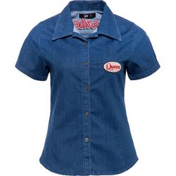 Queen Kerosin Gearhead, Jeans-Bluse - Blau/Rot - XS