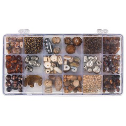 Rayher Perlen-Set Glasperlenbox topas