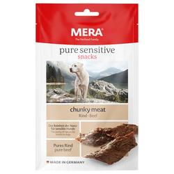 (4,79 EUR/100g) Mera Dog Pure Sensitive Chunky Meat Rind 100 g