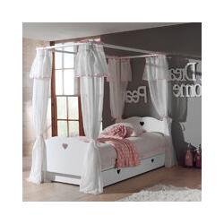 Himmelbett ANNECY-12, MDF weiß lackiert, Himmelbett, Bettschublade und Textil-Vorhang, 90 x 200 cm